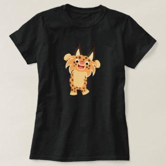 T-shirt courageux mignon de femmes de chat sauvage