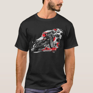 T-shirt Coureur plat de moto de voie de speed-way