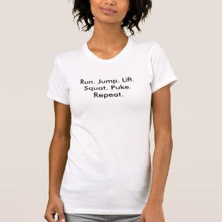 T-shirt Course. Saut. Ascenseur. Posture accroupie.