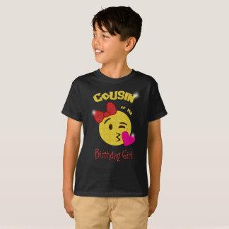 T-shirt Cousin de la fête d'anniversaire d'Emoji de fille