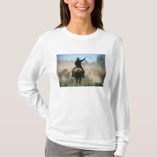 T-shirt Cowboy sur le cheval avec le lasso conduisant des
