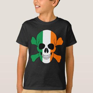 T-shirt Crâne de drapeau de l'Irlande et chemise d'os