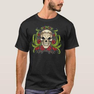 T-shirt Crâne et roses avec la couronne des épines par Al