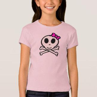 T-shirt Crâne mignon et os croisés avec l'arc rose