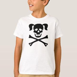 T-shirt Crâne noir et os croisés de fille avec des tresses