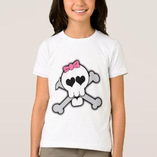 T-shirt Crâne rose et os croisés avec les coeurs et l'arc