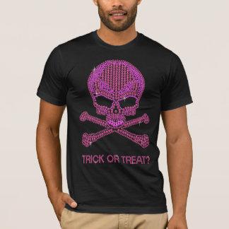 T-shirt Crâne rose imprimé et os croisés de fausse pierre
