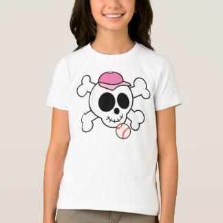T-shirt Crâne rose mignon et os croisés de base-ball