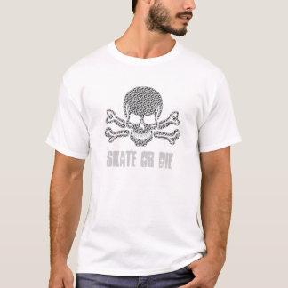 T-shirt crâne texturisé et os croisés