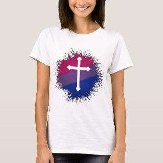 T-shirt Croix bisexuelle de fierté