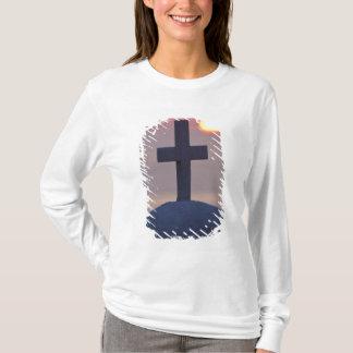 T-shirt Croix sur l'église au coucher du soleil, Mykonos,