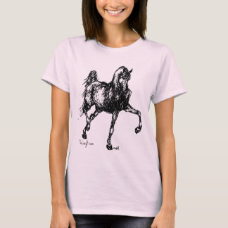 T-shirt Croquis simple de cheval Arabe