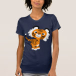 T-shirt curieux mignon de femmes de tigre de bande
