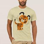 T-shirt curieux mignon de tigre de bande dessinée