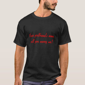 T-shirt Customized m'épouserez-vous ? Hommes noirs de tee