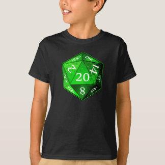 T-shirt D&D VERT vert et blanc de d20 meurent