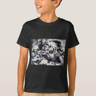 T-shirt Dalmatian puppy with stains several
