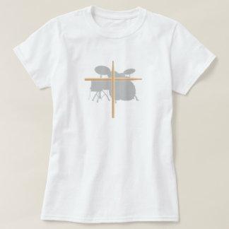 T-shirt Dames chrétiennes de croix de bâton de tambour de