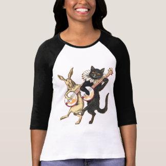 T-shirt Dames de lapin et de chat 3/4 raglan de douille