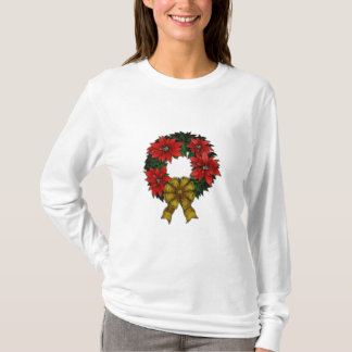 T-shirt Dames long Sleev de guirlande de Noël… - Customisé