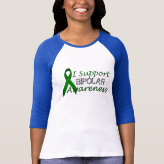 T-shirt Dames vertes bipolaires de ruban de conscience
