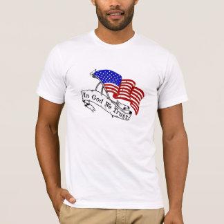 T-shirt Dans Dieu nous faisons confiance, blanc et bleu
