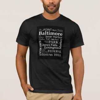T-shirt d'art de mot de Baltimore dans le noir
