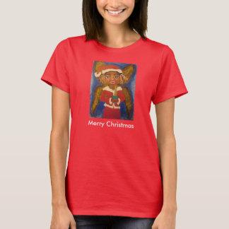 T-shirt d'art noir d'Afro-américain de Joyeux Noël