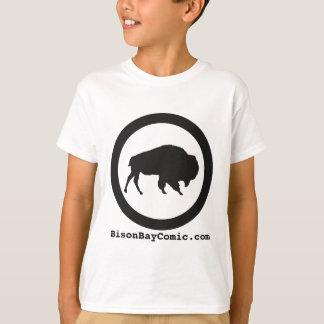T-shirt de baie de bison d'enfants, blanc