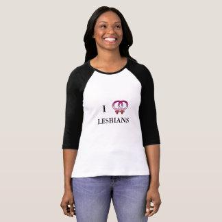 T-shirt de base-ball des lesbiennes I <3