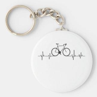 T-shirt de battement de coeur de vélo. porte-clés