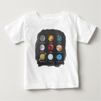 T-shirt de bébé d'aquarelle de système solaire