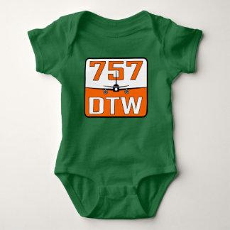 T-shirt de bébé de 757 DTW avec la fermeture