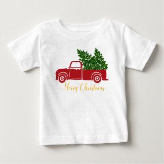 T-shirt de bébé de camion d'arbre de Noël