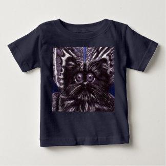 T-shirt de bébé de chat de mite de chat noir
