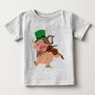 T-shirt de bébé de porc de violoniste du jour de