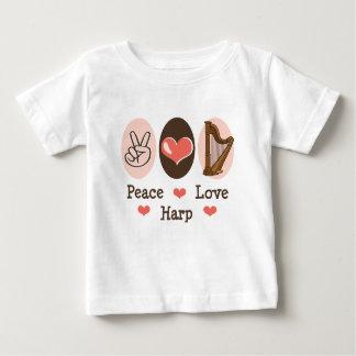 T-shirt de bébé d'harpe d'amour de paix