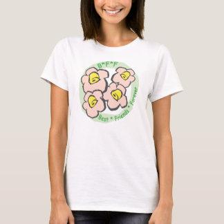 T-shirt De BFF de meilleurs amis fleurs roses pour