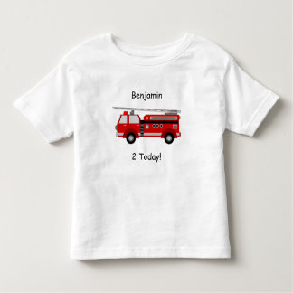 T-shirt de camion de pompiers d'enfant en bas âge