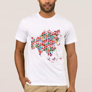 T-shirt de carte de coeurs de drapeau de l'Asie