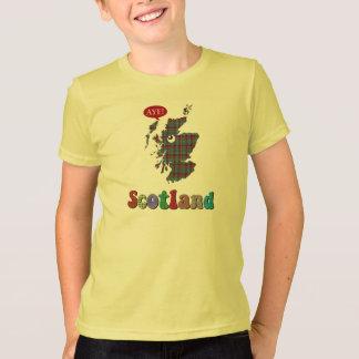 T-shirt de carte de l'Ecosse de tartan oui
