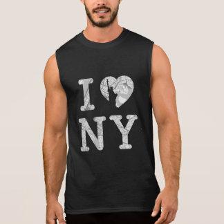 T-shirt de carte de New York sans manche