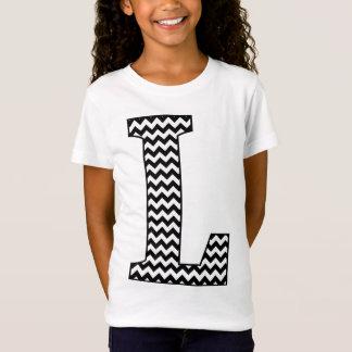 T-shirt de Chevron L fille noire et blanche de