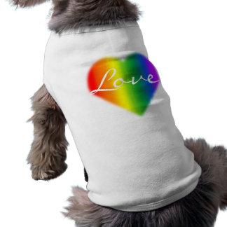 T-shirt de chien de l'amour LGBT d'arc-en-ciel de