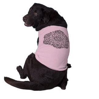 T-shirt de chienchien avec le ROSE d'art de T-shirt Pour Chien