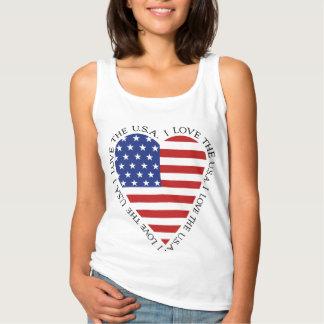 T-shirt de coeur de drapeau américain (styles