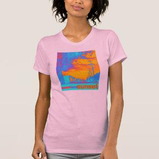 T-shirt de coucher du soleil de dames