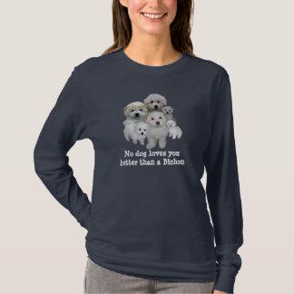 T-shirt de dames de chiots de Bichon Frise