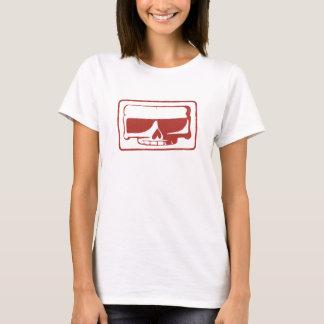T-shirt de dames de crâne de timbre d'encre