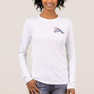 T-shirt de dames de drapeau du Cuba - étiquette de